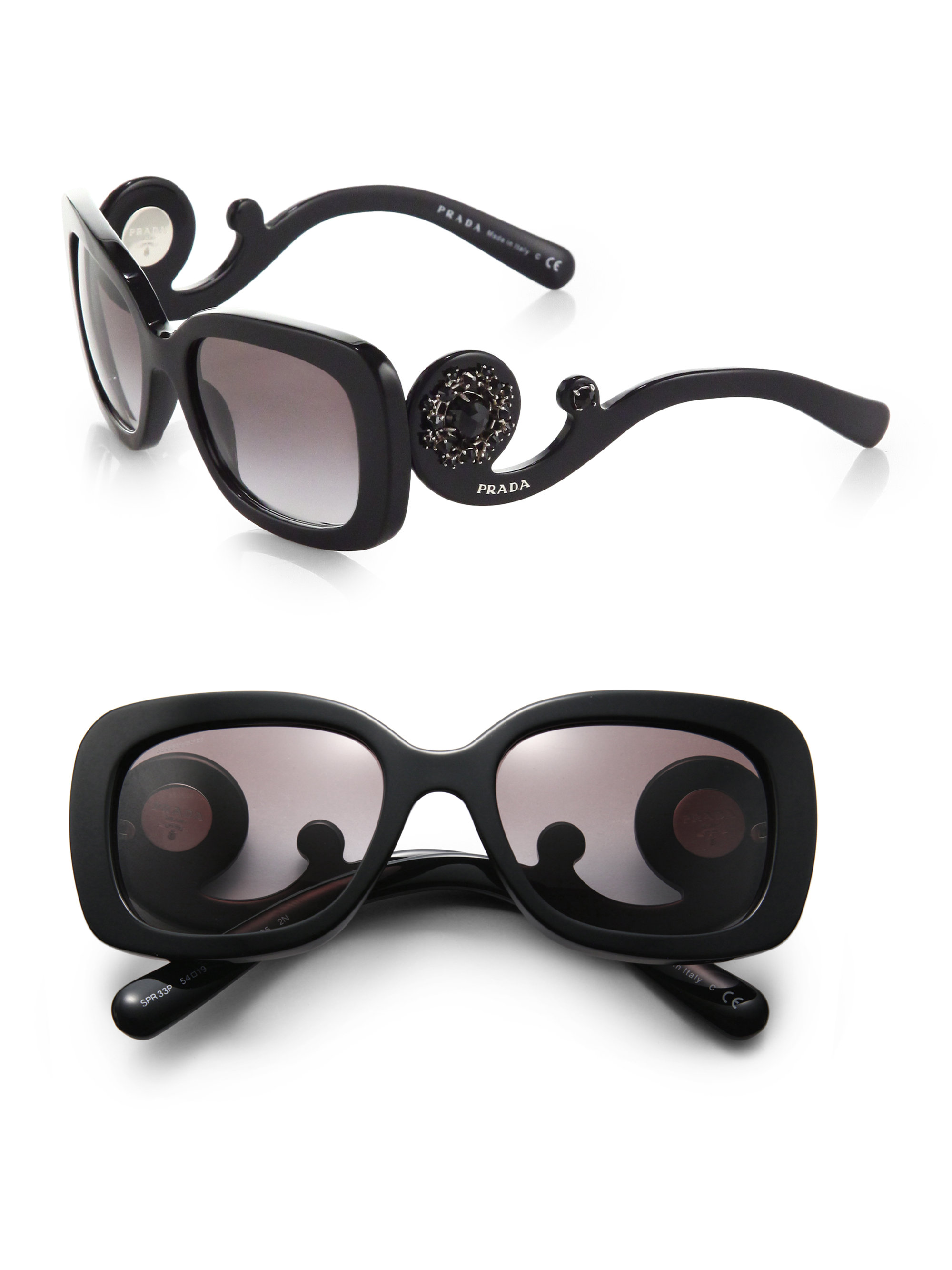 f59b87cab0 ... france lyst prada baroque square plastic sunglasses in black 20332 bdb53