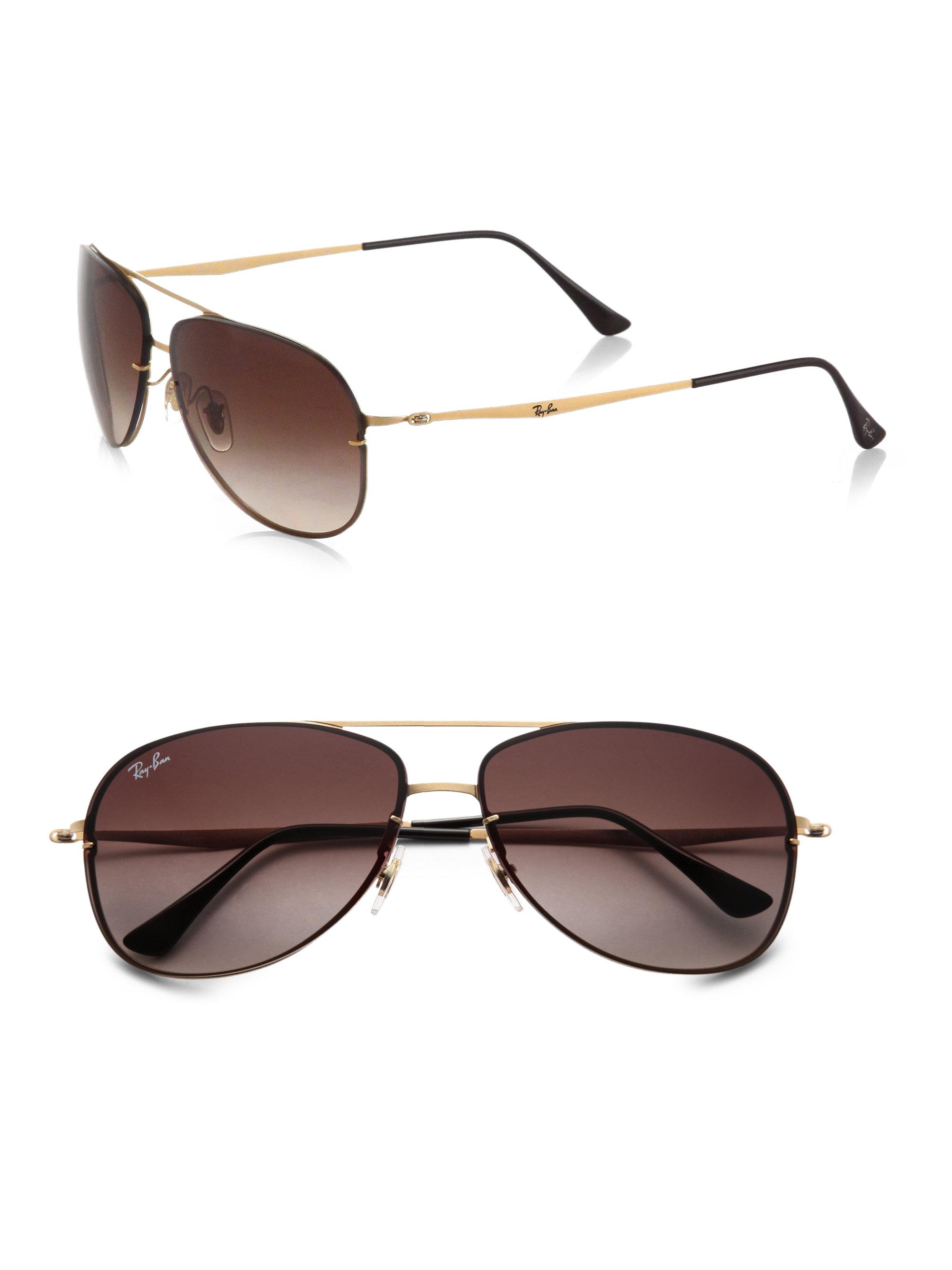Rimless Aviator Sunglasses : Ray-ban Rimless Aviator Sunglasses in Gold Lyst