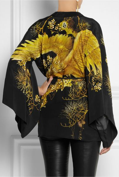 Roberto Cavalli Chimera Silk Kimono Jacket In Gold Black