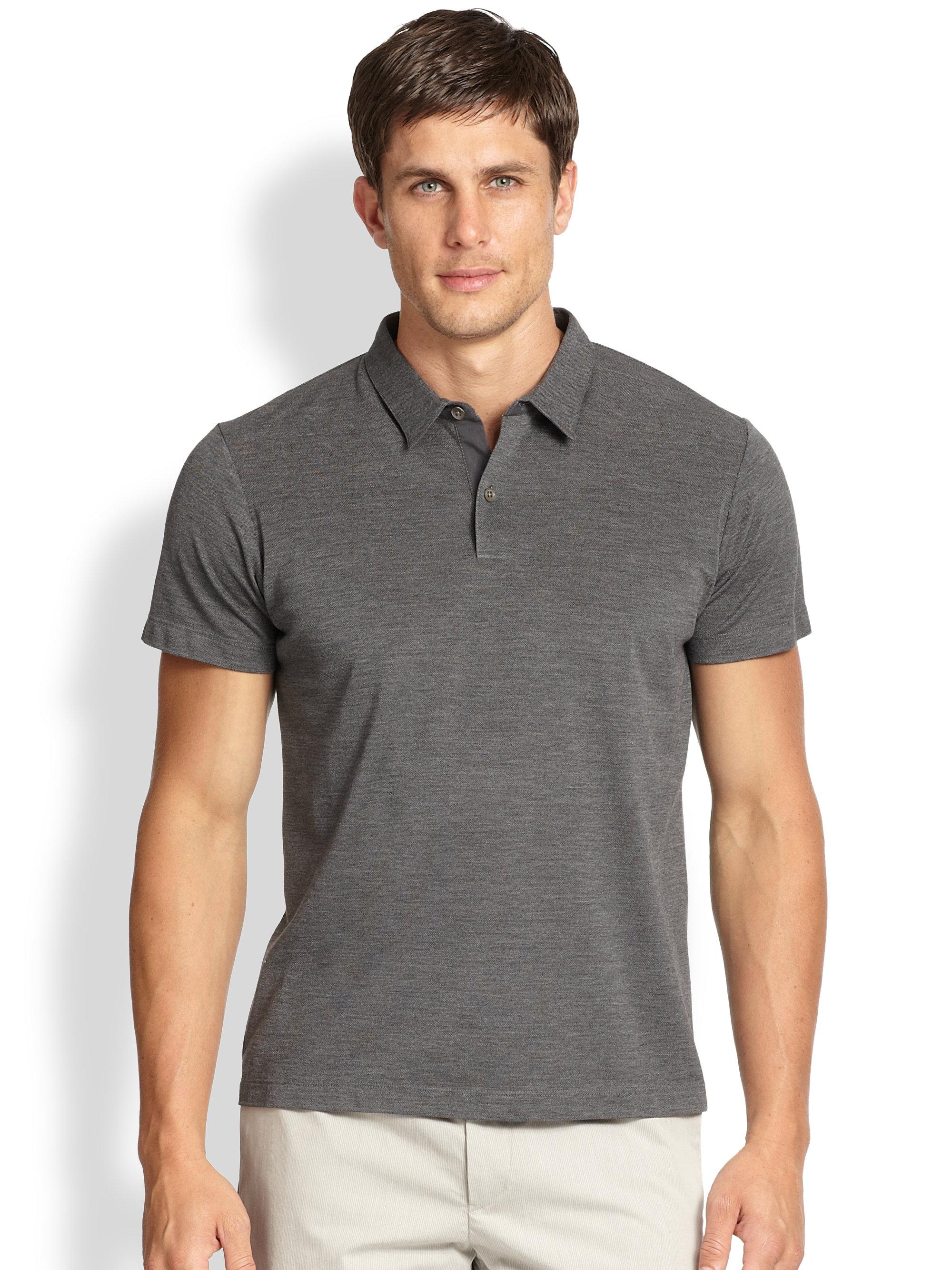Theory Bron Plato Silk Cotton Polo Shirt In Gray For Men