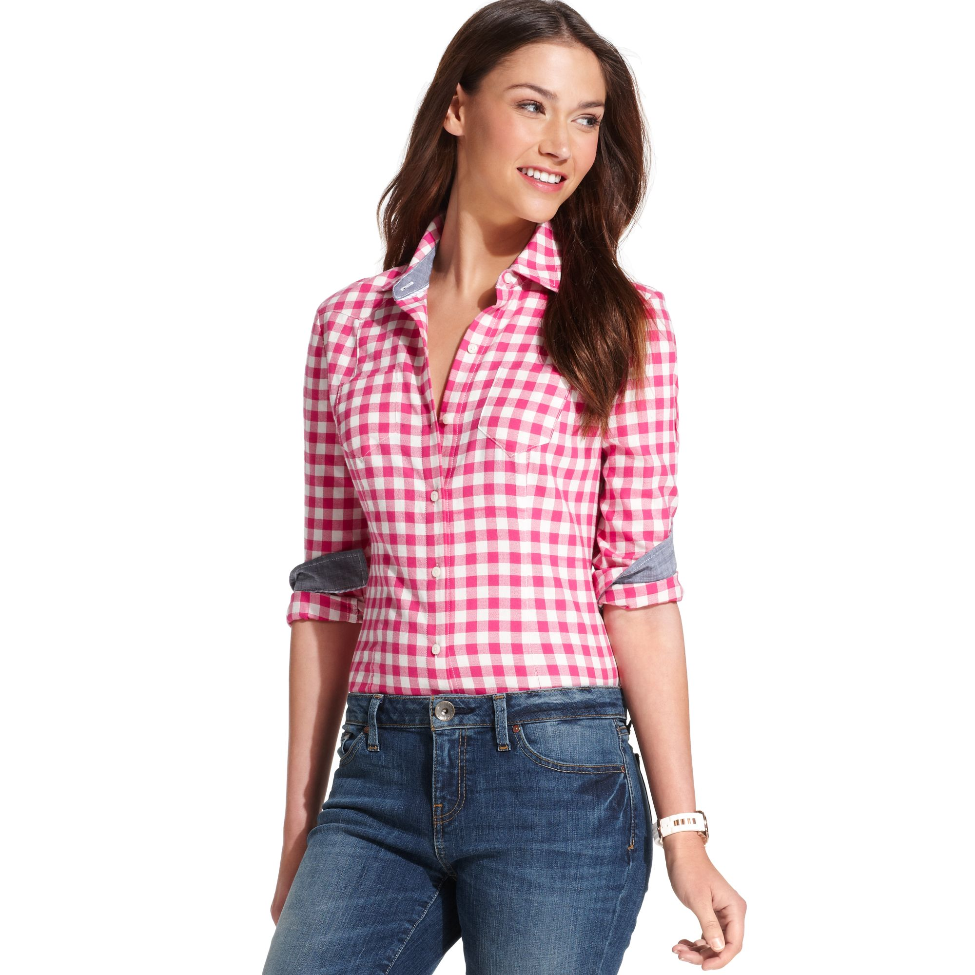 2fd749e1761 Lyst - Tommy Hilfiger Long Sleeve Checkered Shirt in Pink