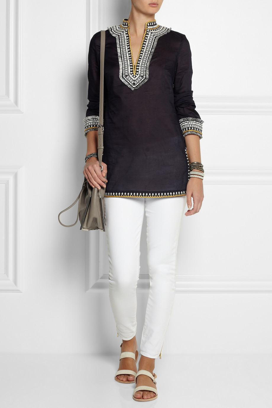 Tory burch embroidered cotton tunic in black lyst for Tory burch fashion island