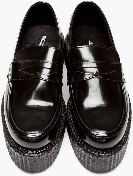 Underground Black Patent Leather Platform Loafers In Black