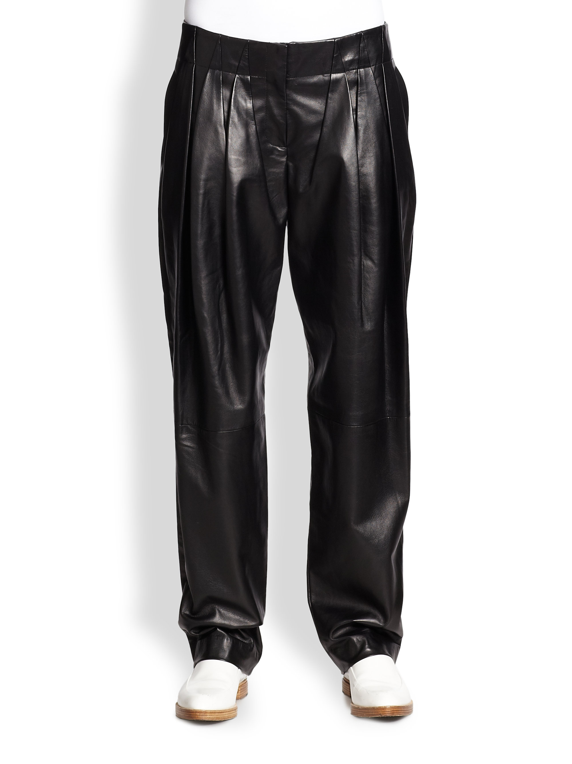 Alexander wang Pleated Leather Wideleg Pants in Black | Lyst