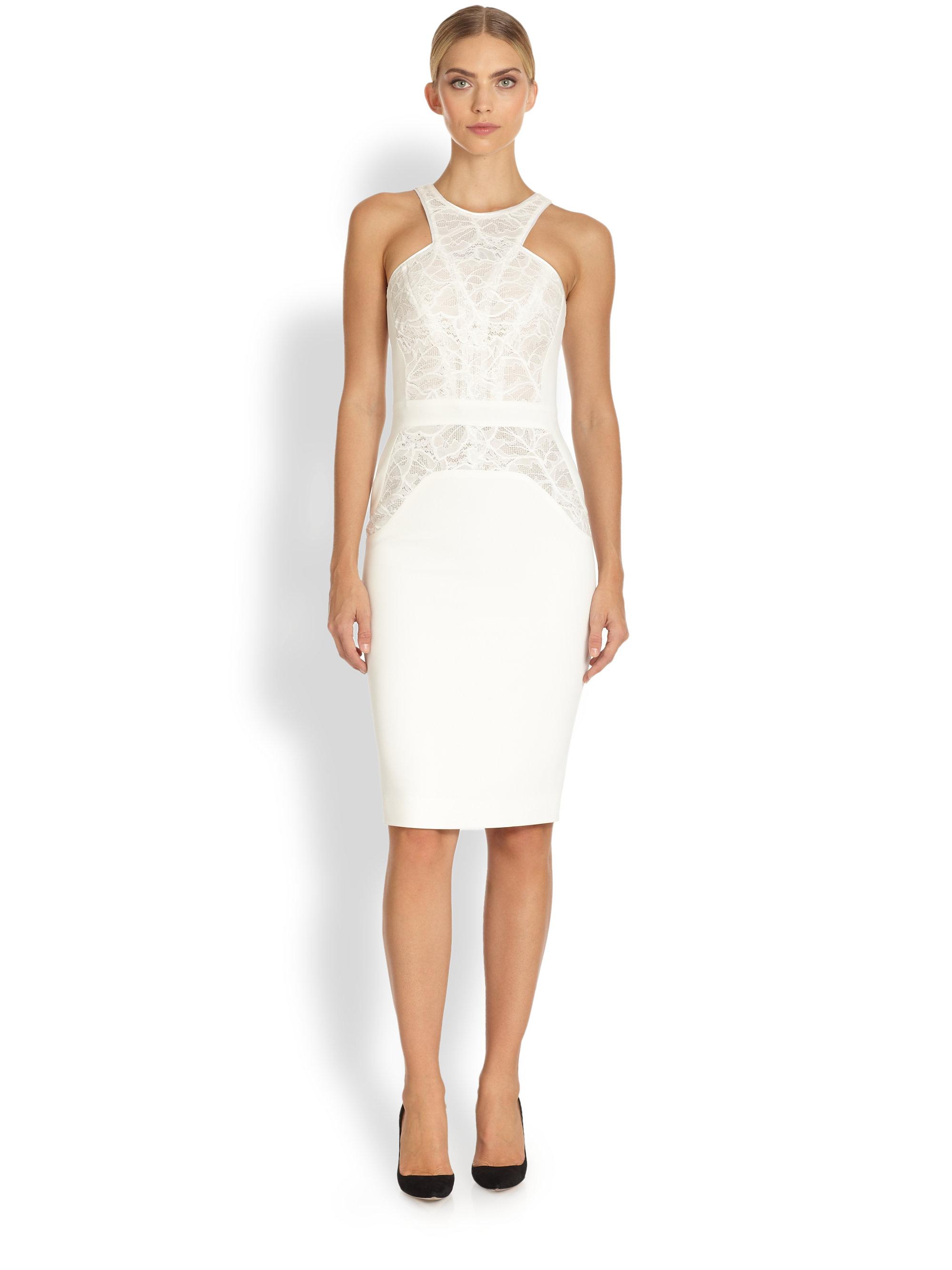 Antonio berardi Sleeveless Lace Detail Sheath Dress in White   Lyst