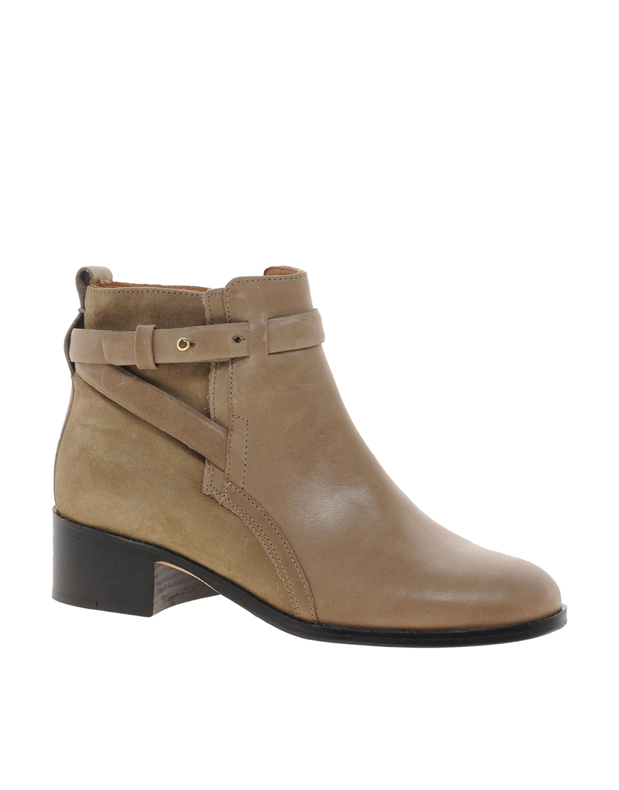 whistles cross taupe flat ankle boots in gray