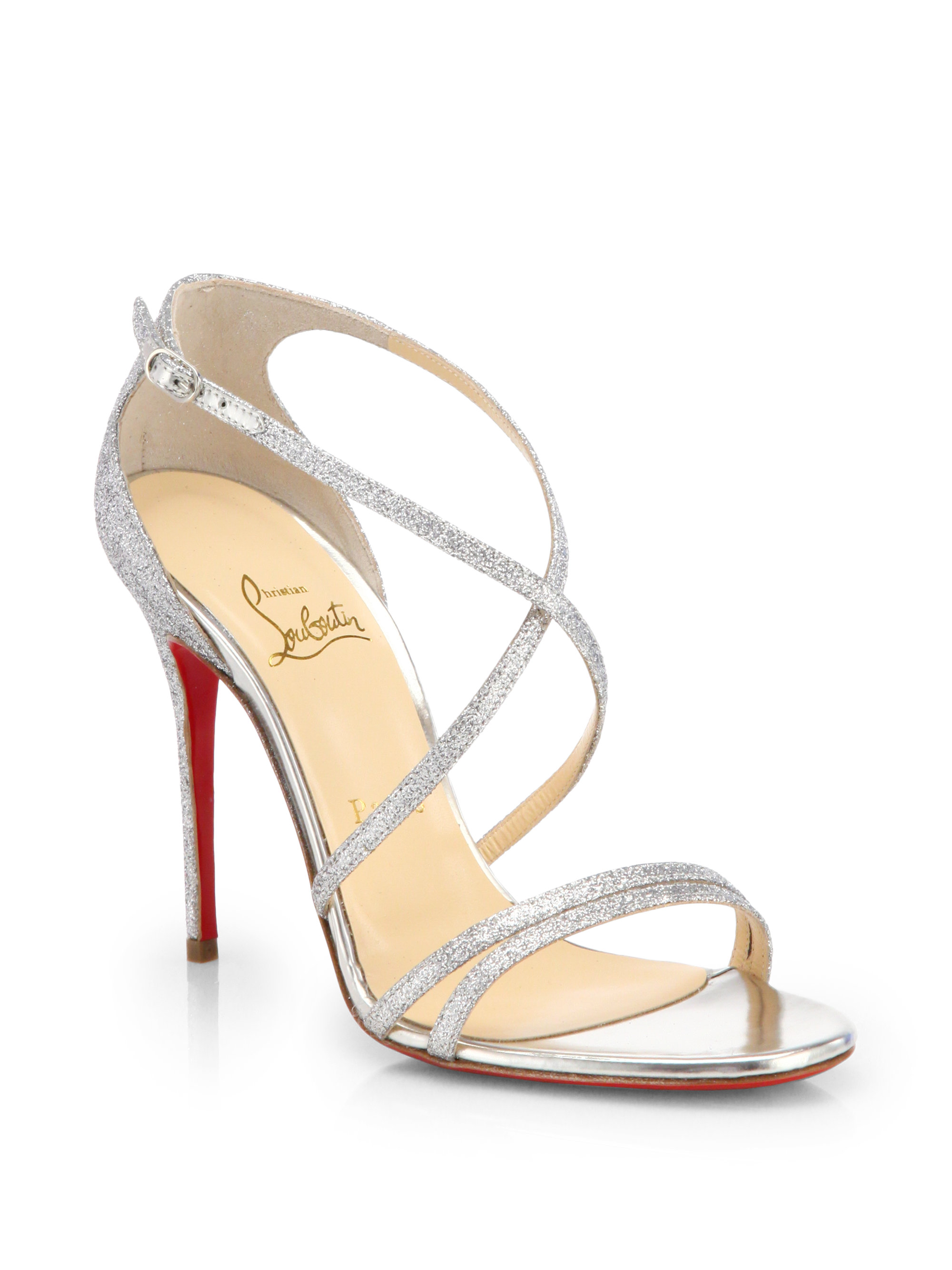 Christian Louboutin Gwynitta Glitter Sandals In Silver