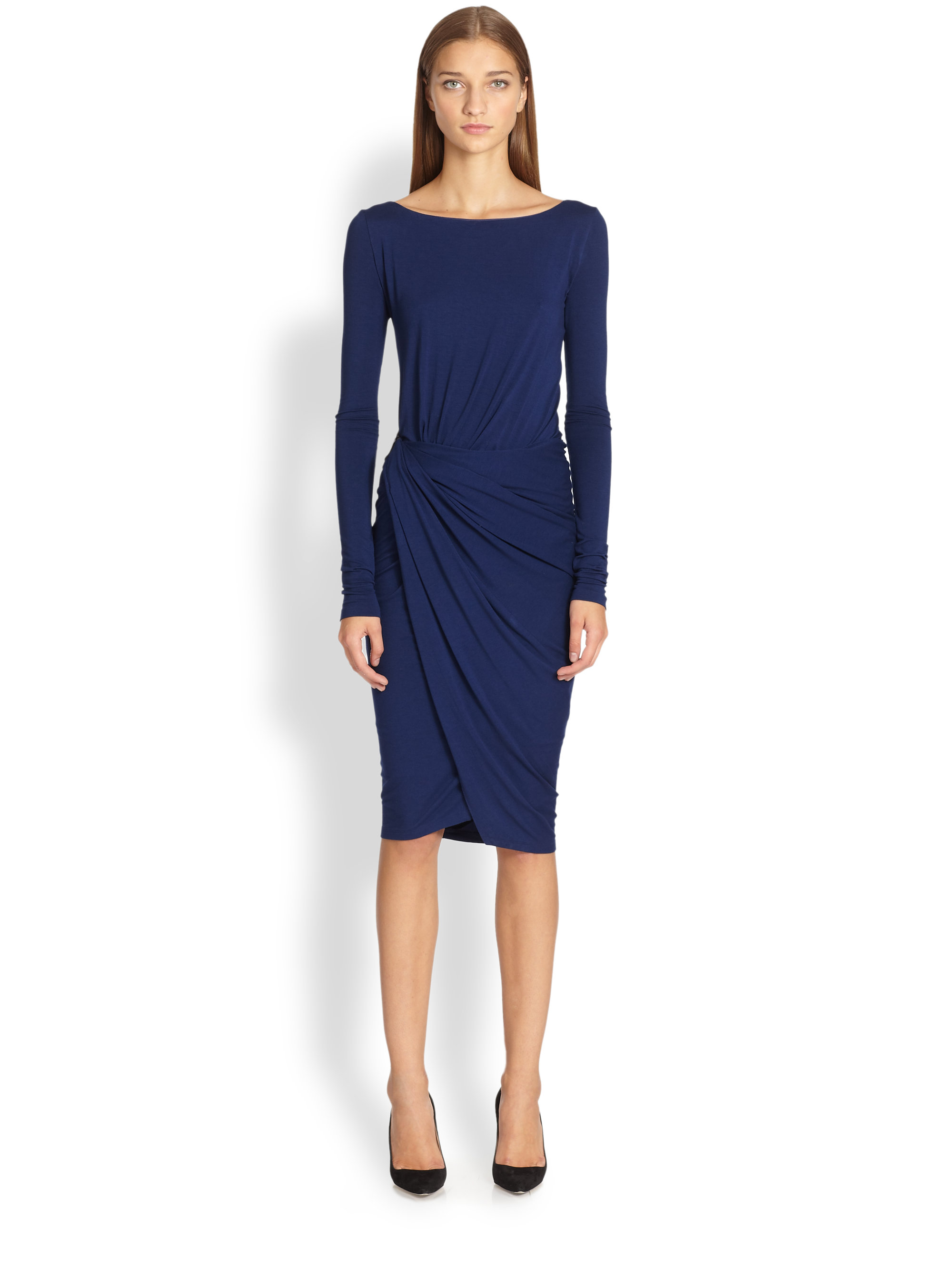 Lyst Donna Karan Leather Detail Jersey Dress In Blue