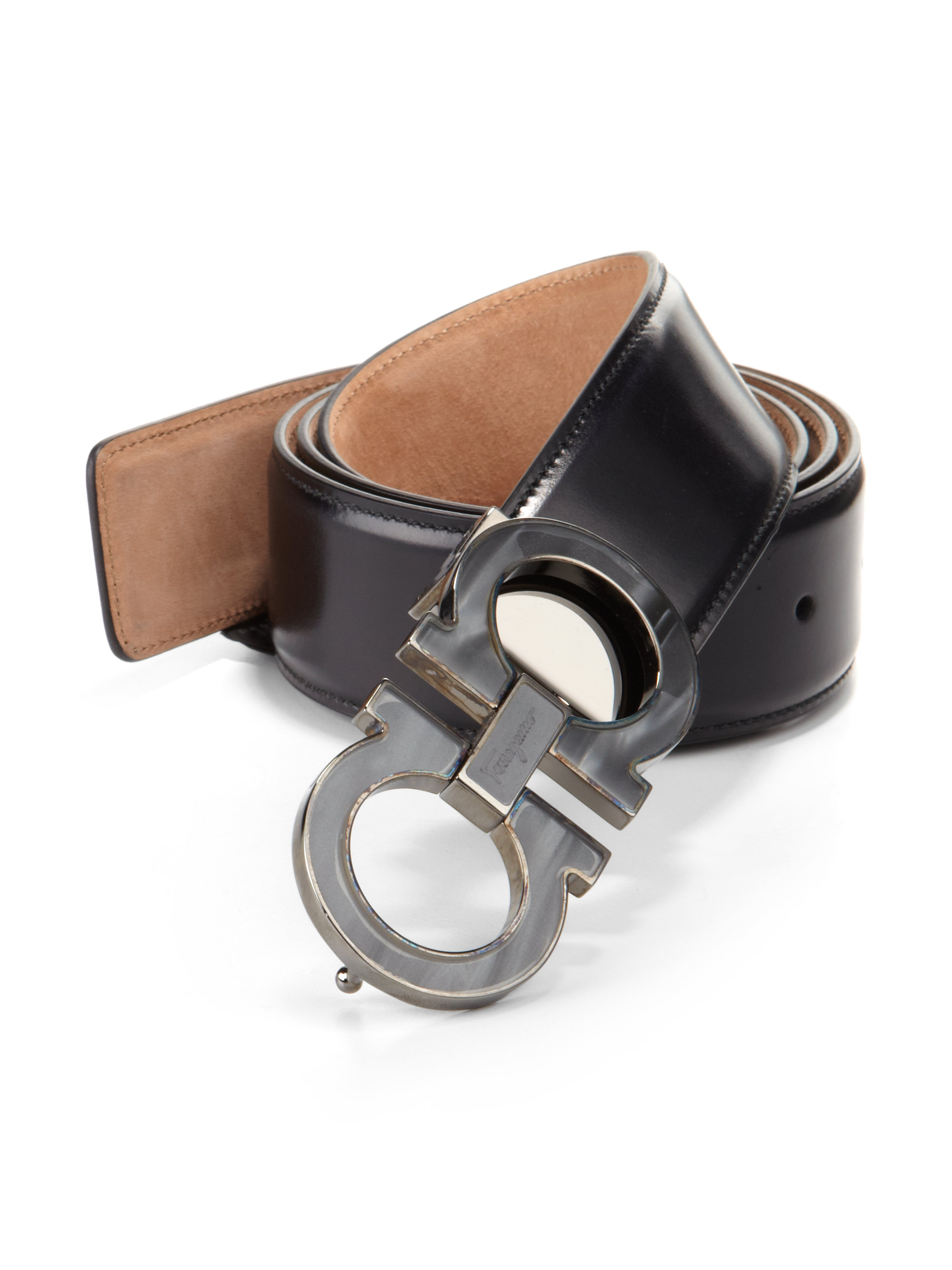 Ferragamo Double Gancini Leather Belt in Brown for Men ...