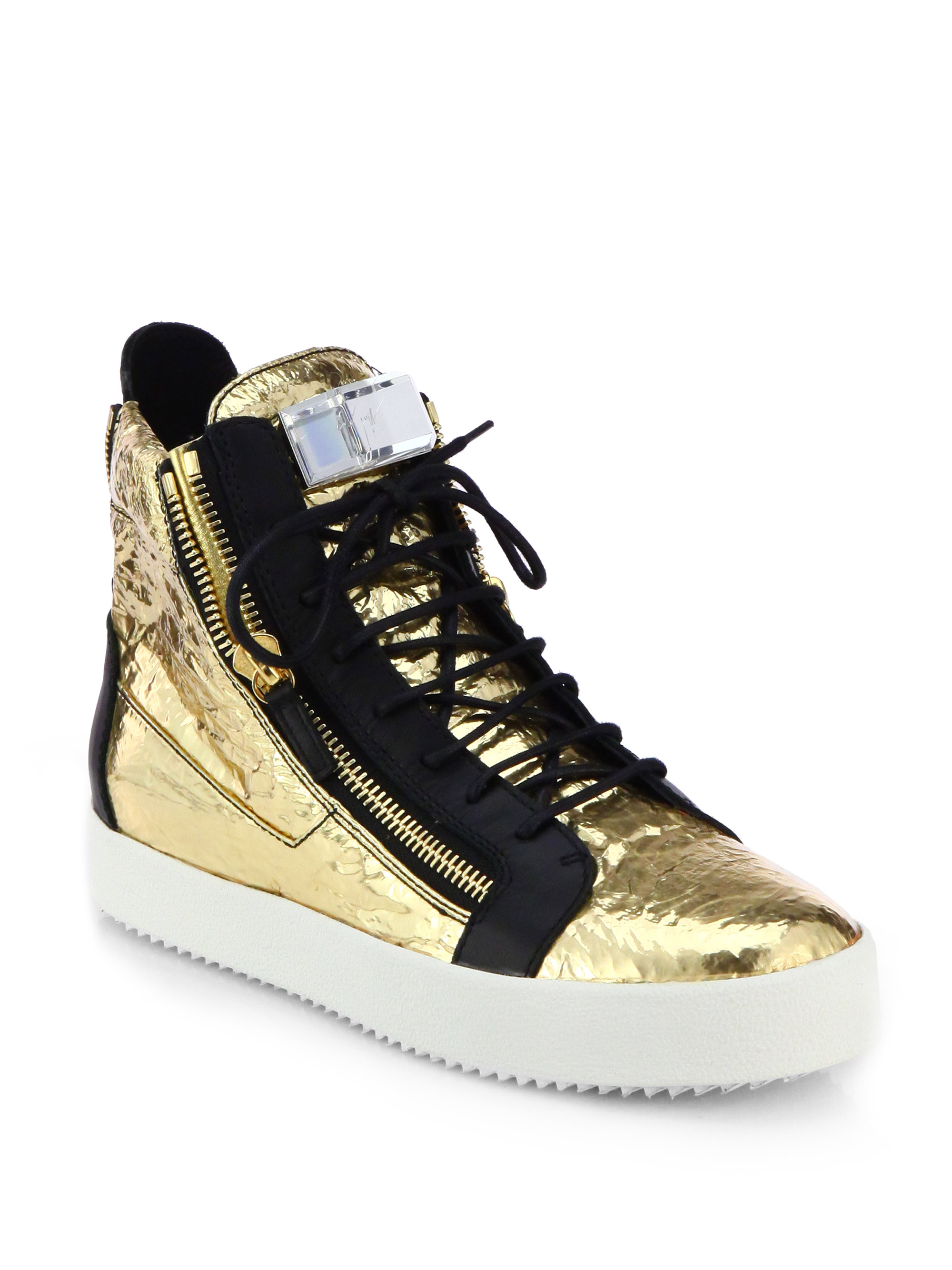 Lyst - Giuseppe Zanotti Foiled Leather & Crystal High-Top ...