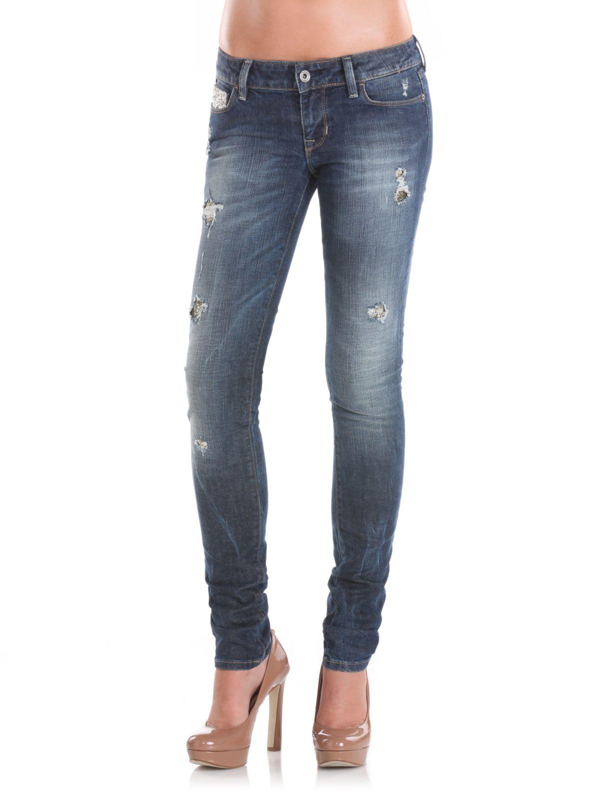 Guess starlet dark destroyed silver jeans in blue dark blue