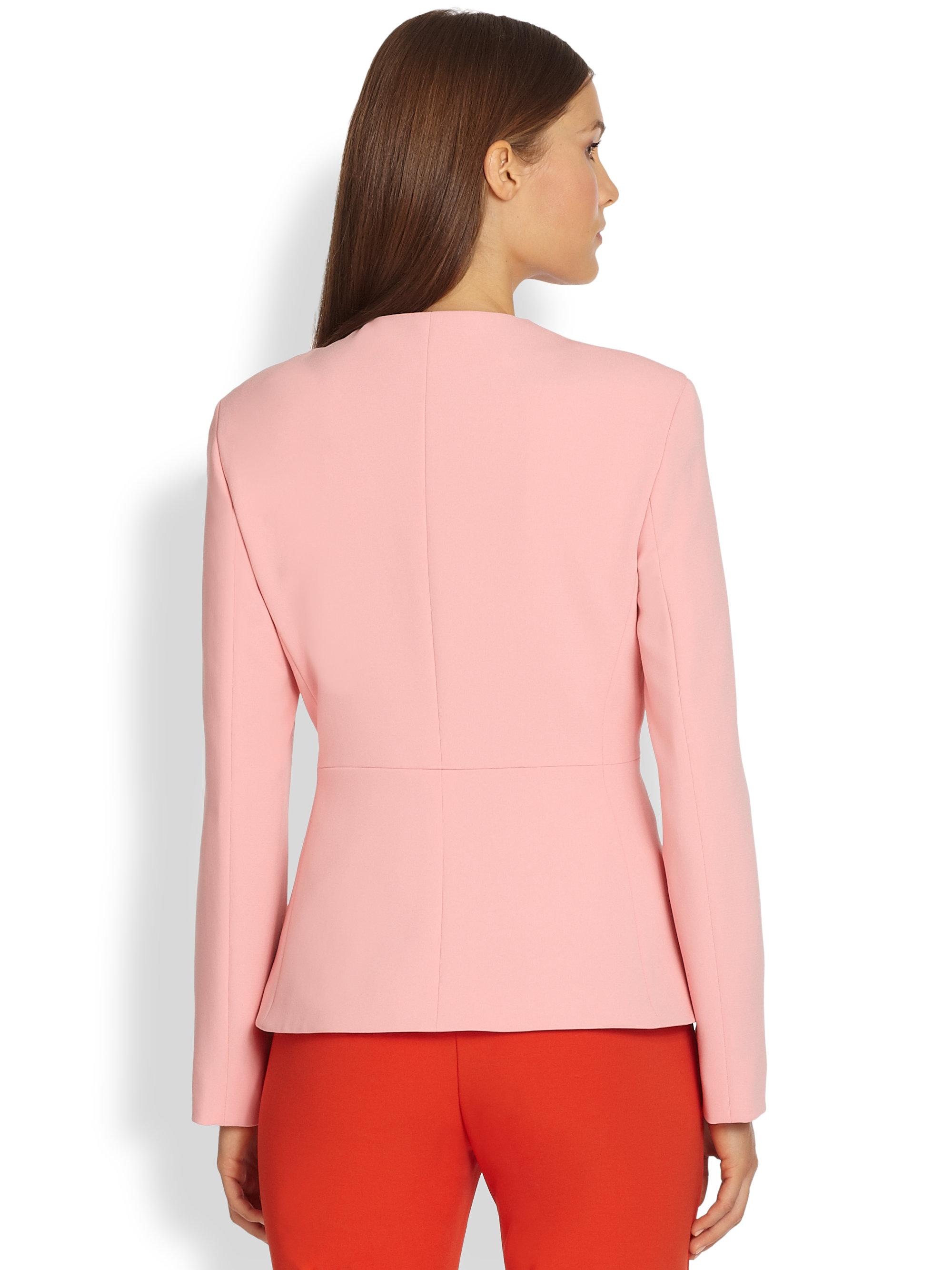 Max mara Collarless Jacket in Pink | Lyst