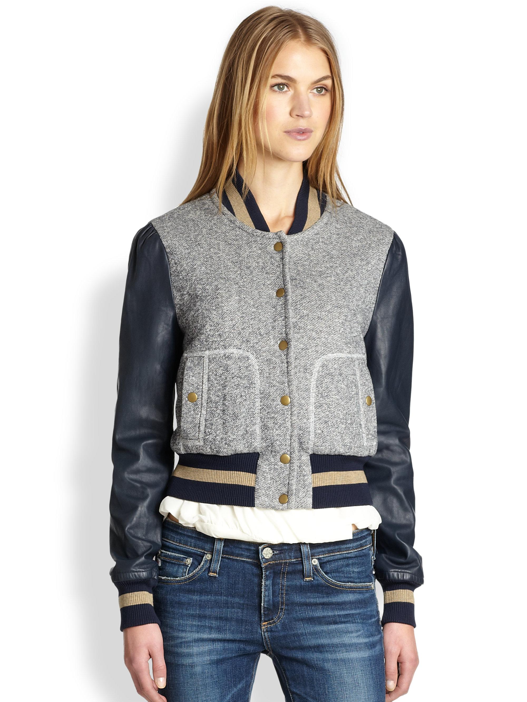 Rachel Zoe Ryder Leather Sleeve Baseball Jacket In Gray  Lyst-5883