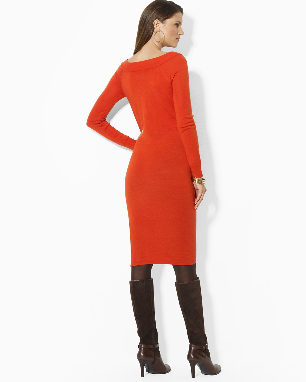 Lyst Ralph Lauren Buckle Boat Neck Sweater Dress In Orange