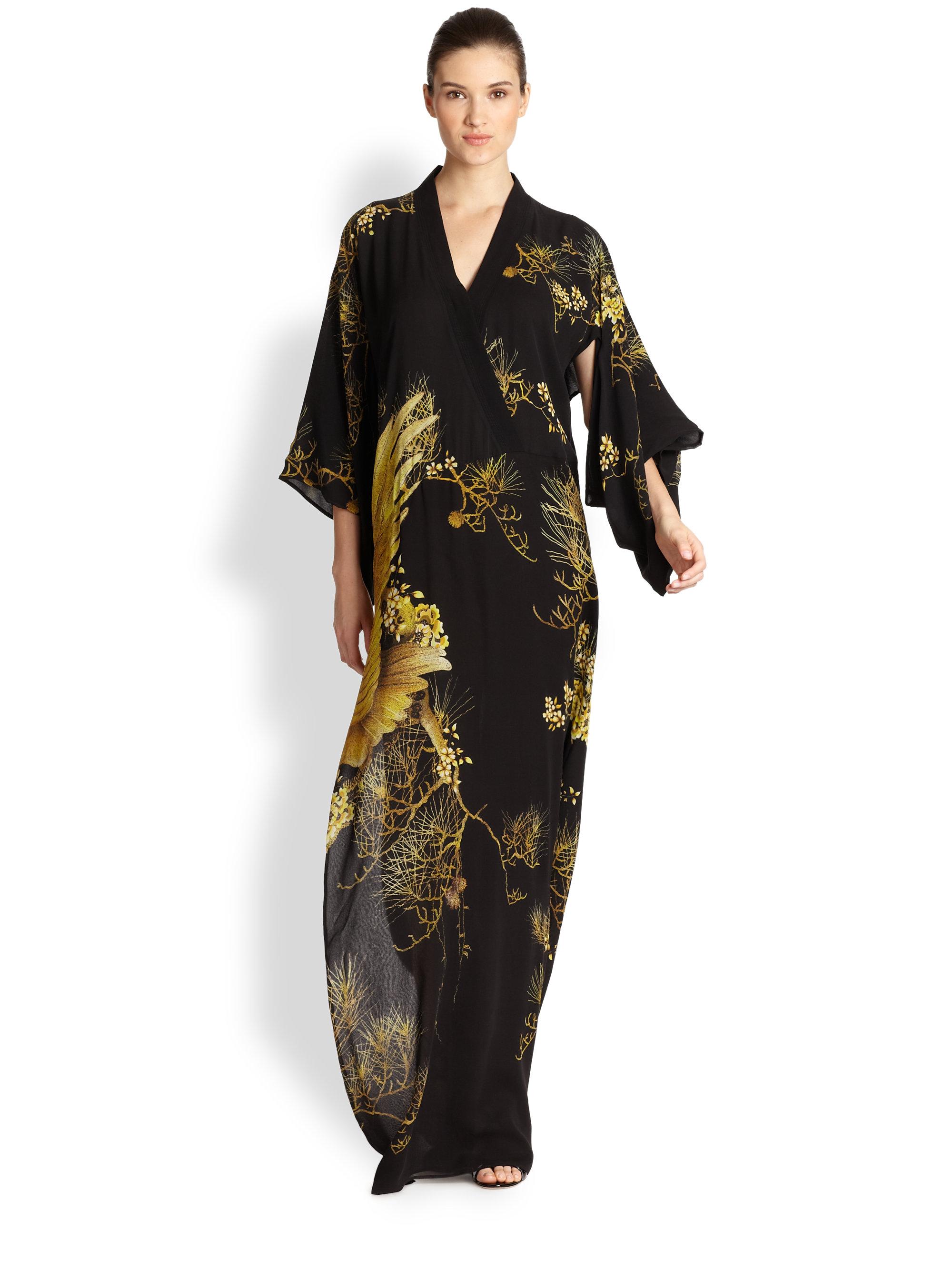 Lyst - Roberto Cavalli Printed Silk Kimono Gown in Black