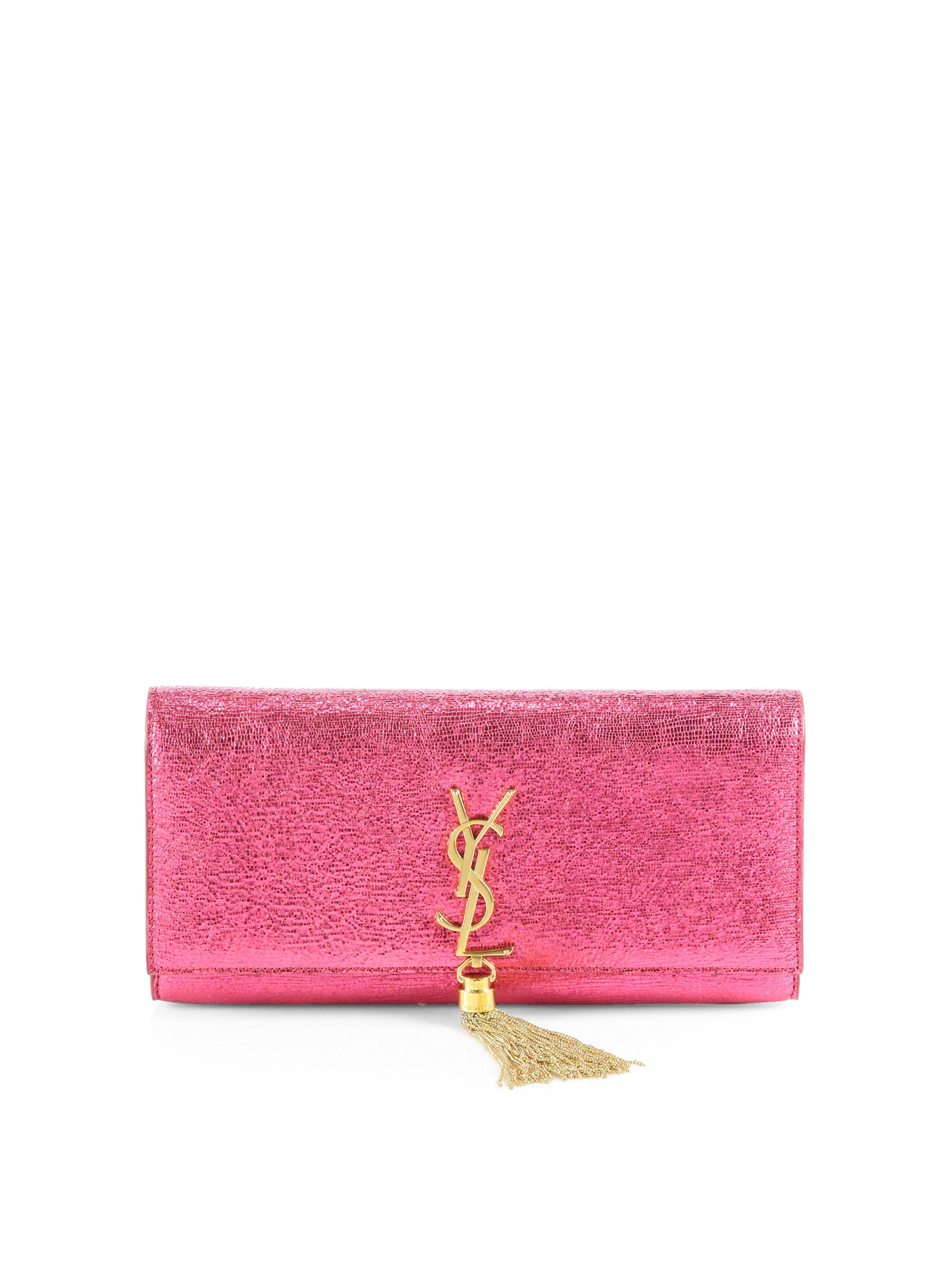 073bbfffa37 Saint Laurent Cassandre Metallic Leather Tassel Clutch in Pink - Lyst