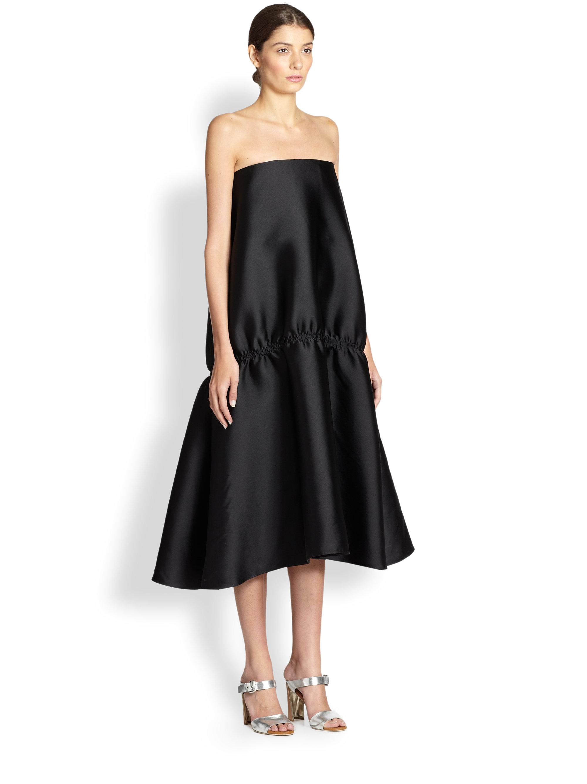 Stella Mccartney Strap less Flounce-hem Evening Dress in Black - Lyst