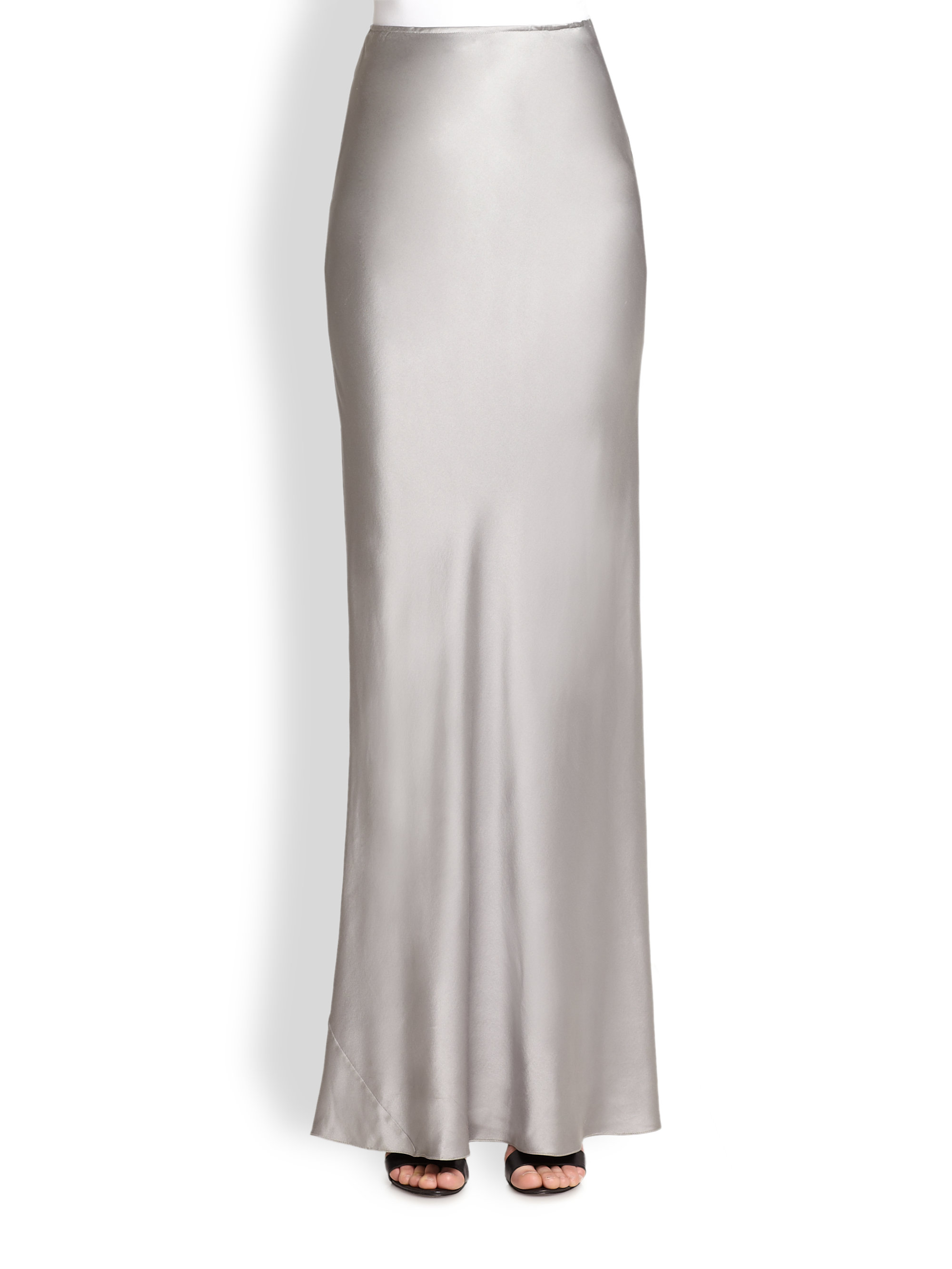 Tess giberson Long Silk Skirt in Metallic | Lyst