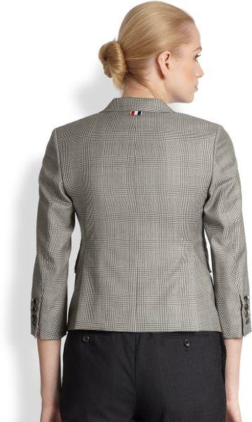 Thom Browne Wool Prince Of Wales Little Boy Sport Coat In
