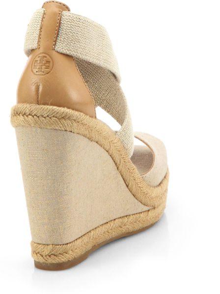 burch natanya linen espadrille wedge sandals in beige