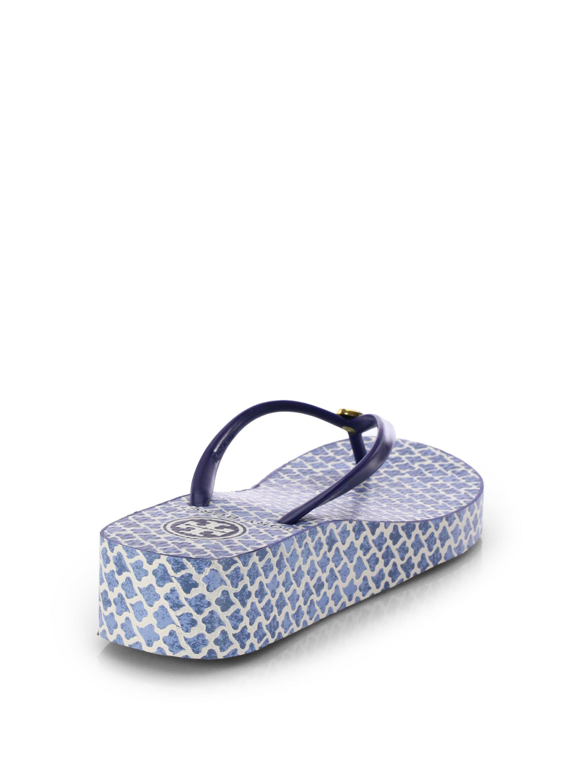 47a0ecbd59f80a Lyst - Tory Burch Thandie Wedge Flip Flops in Blue