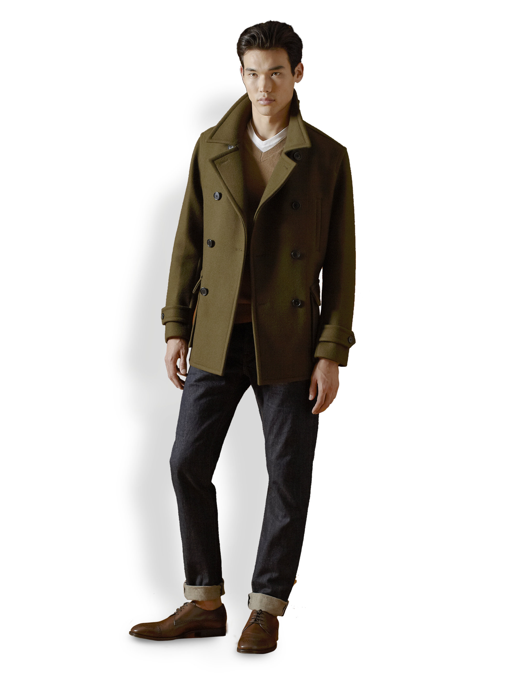 Vince Doublebreasted Wool Peacoat in Green for Men | Lyst