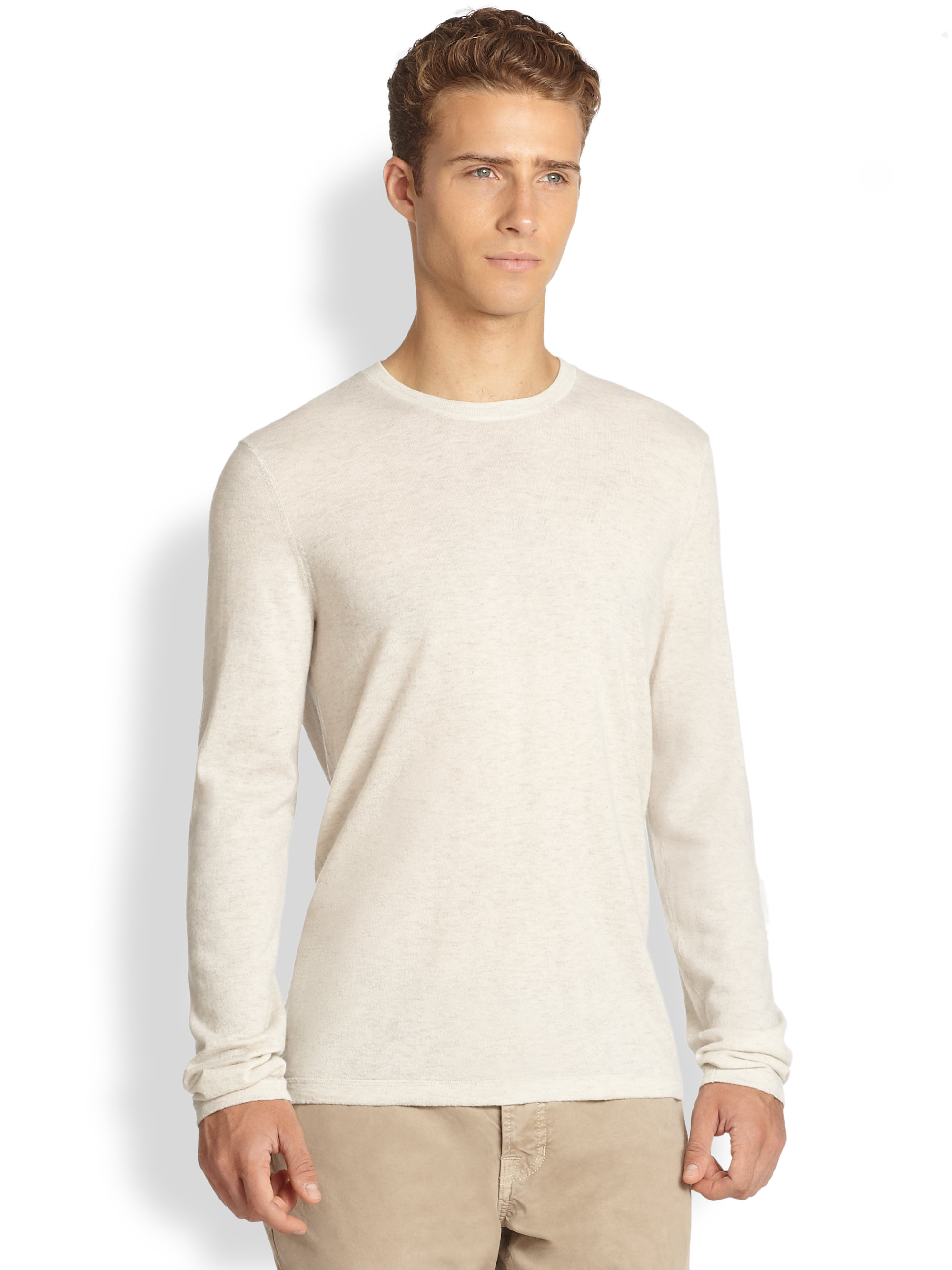 Vince Cashmere Crewneck Sweater in Natural for Men | Lyst