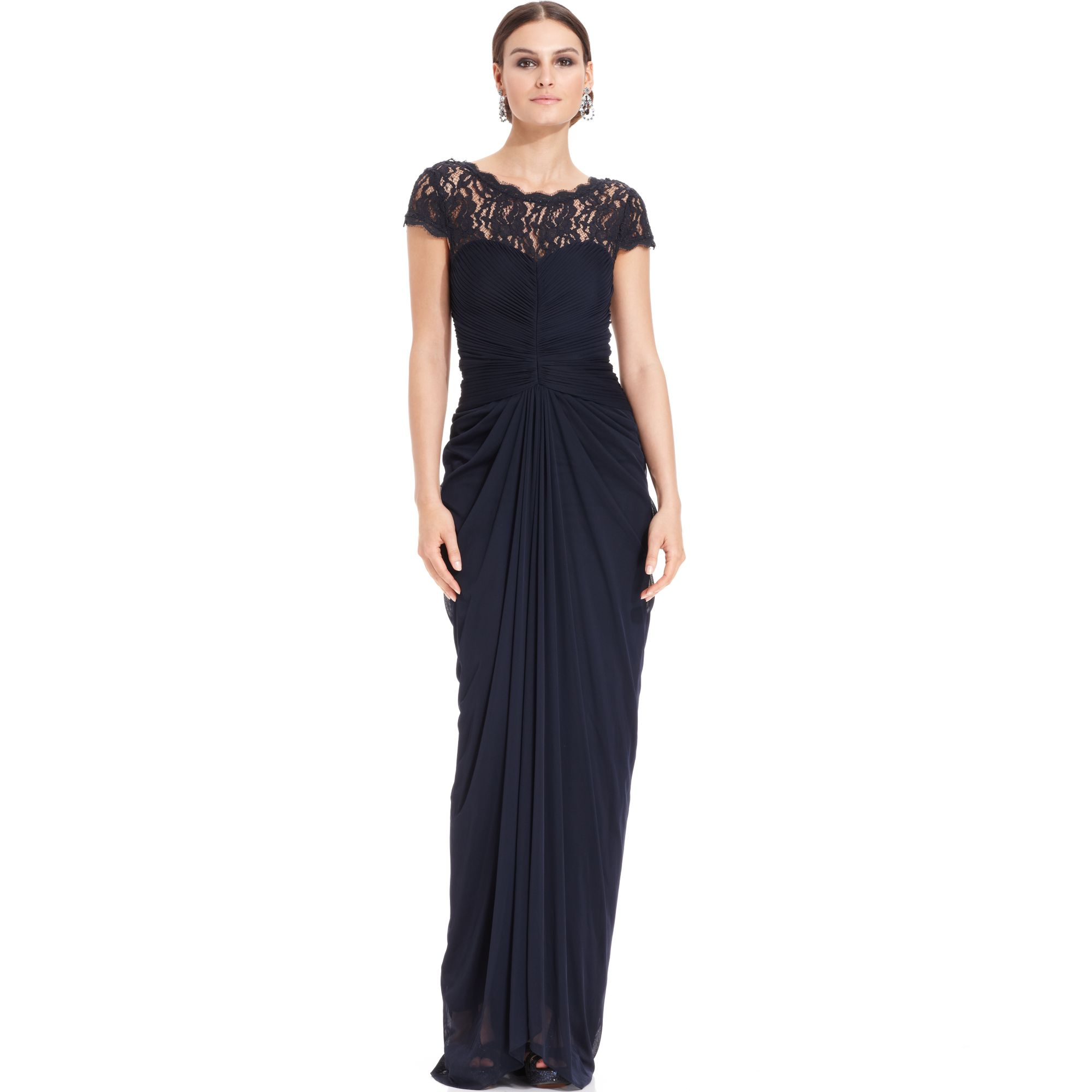 Lyst - Adrianna Papell Shortsleeve Illusion Lace Pleat Gown in Blue