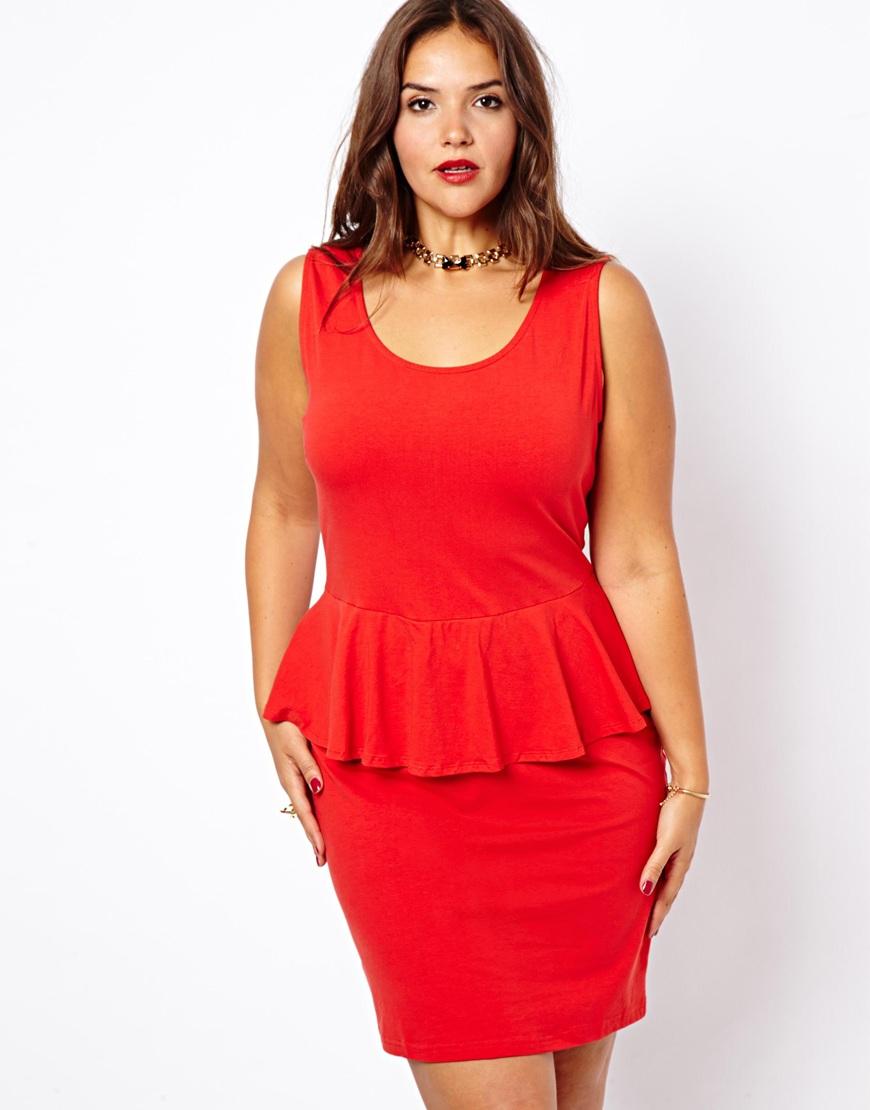 Asos New Look Inspire Sleeveless Peplum Dress in Red