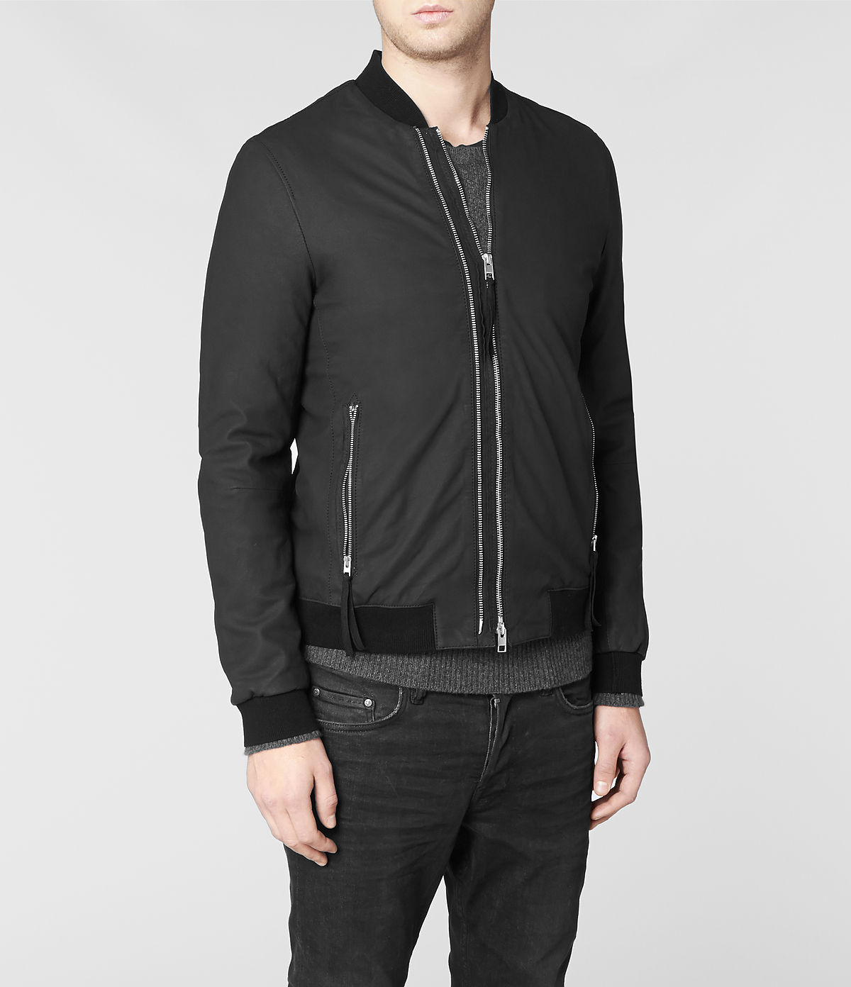 Allsaints Calder Leather Bomber Jacket in Black for Men | Lyst