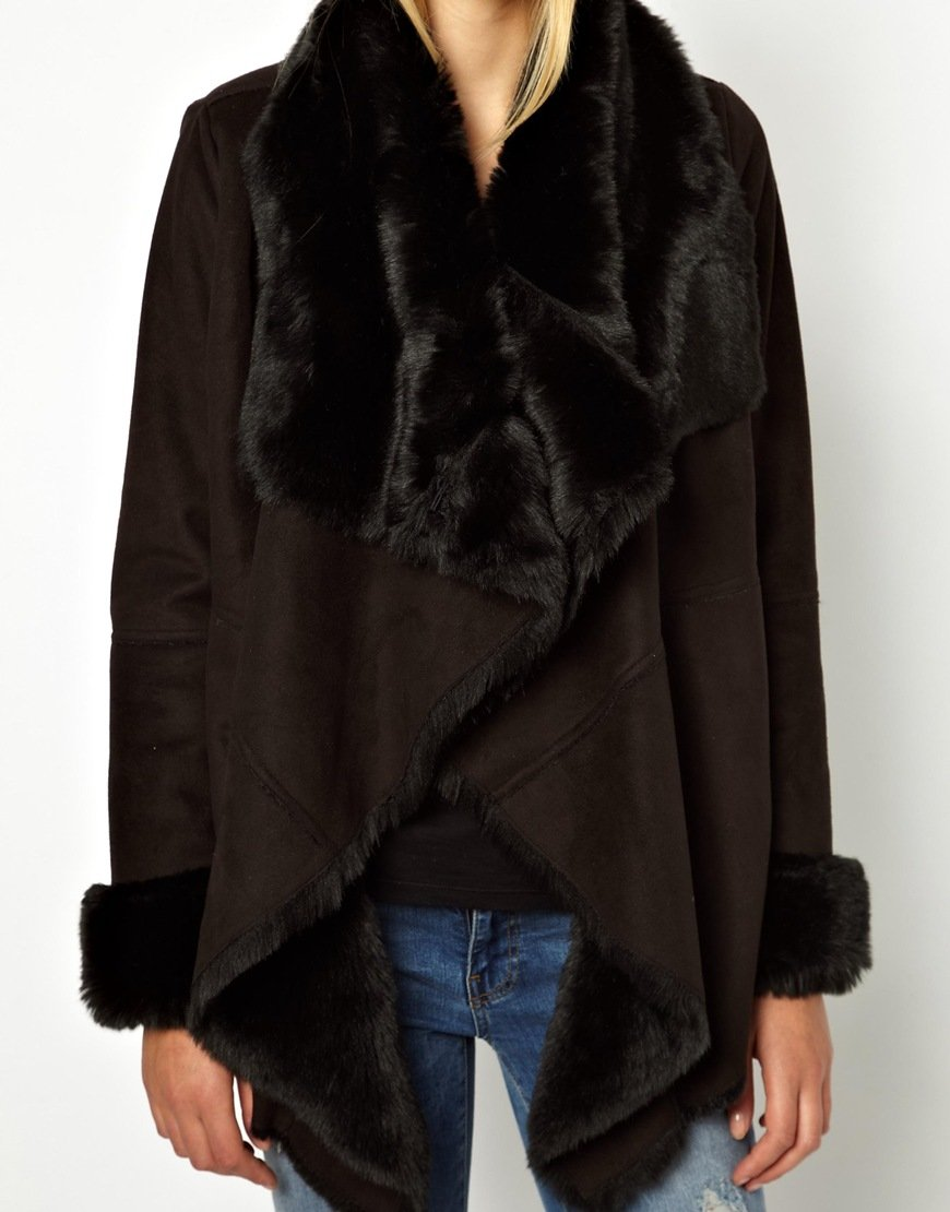 Asos Oasis Faux Shearling Drape Coat in Black | Lyst