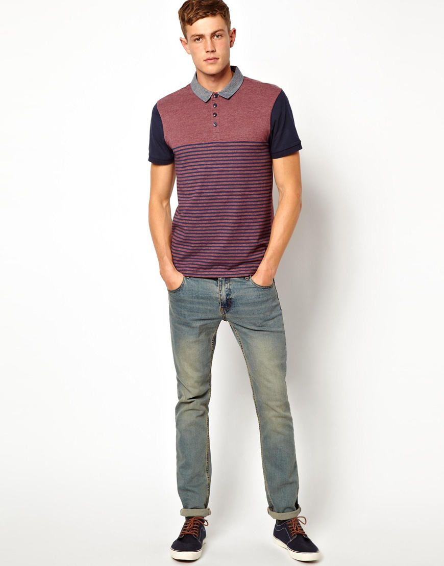 Lyst - ASOS New Look Polo Shirt in Stripe in Purple for Men ab1007aa2