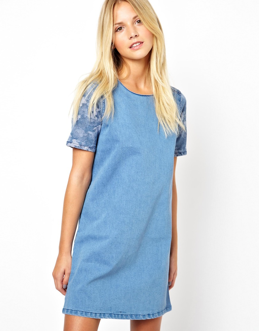 Asos Denim Tunic Dress with Camo Print Panel in Blue  Lyst
