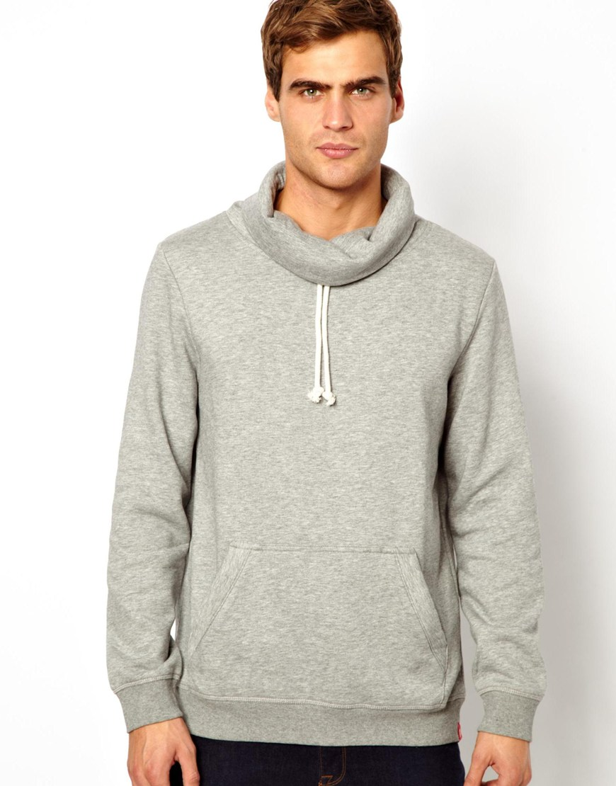 Asos Esprit Hooded Sweatshirt With Funnel Neck In Gray For