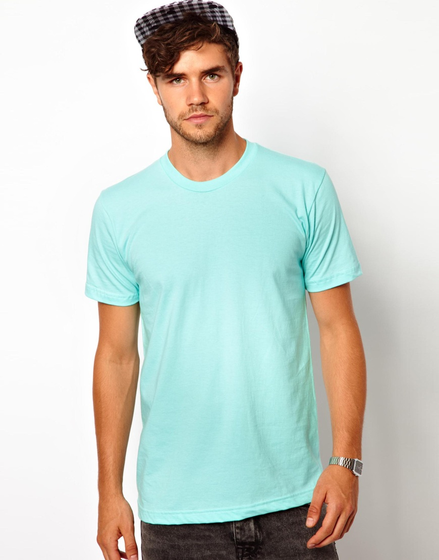 American apparel t shirt with crew neck in green for men for American apparel custom t shirts
