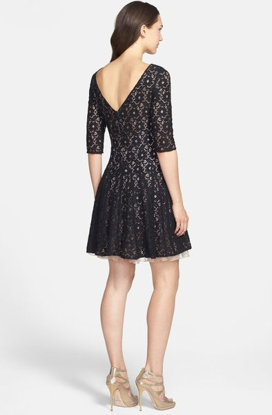 Betsey Johnson Lace Fit Flare Dress In Black Lyst