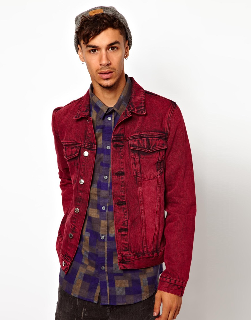 Cheap monday Denim Jacket in Red for Men | Lyst