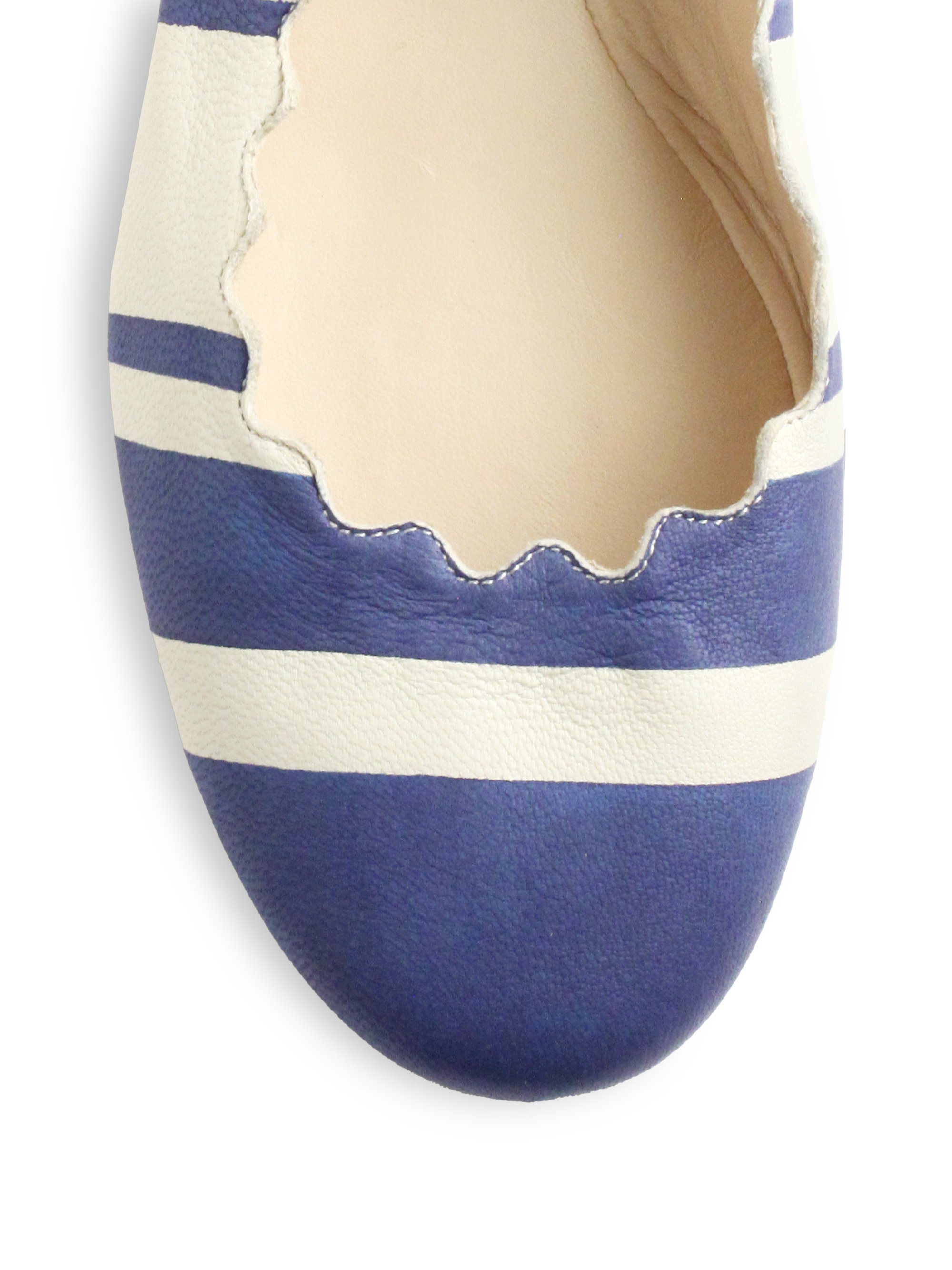 Lyst Chlo 233 Striped Leather Ballet Flats In Blue