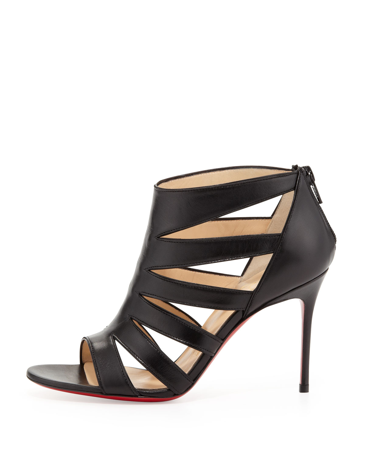 christian louboutin caged sandals Black suede | The Little Arts ...