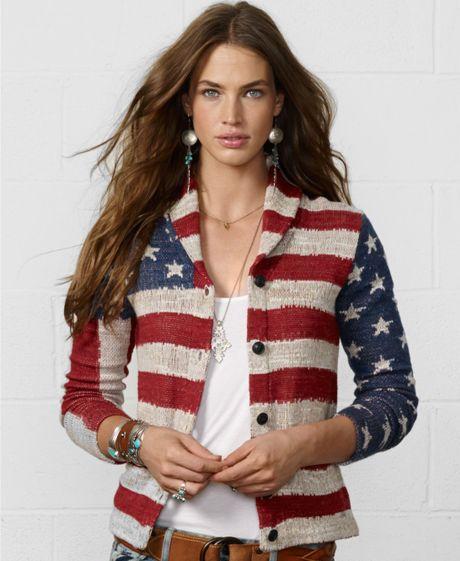 Ralph Lauren American Flag Shawl Sweater 3