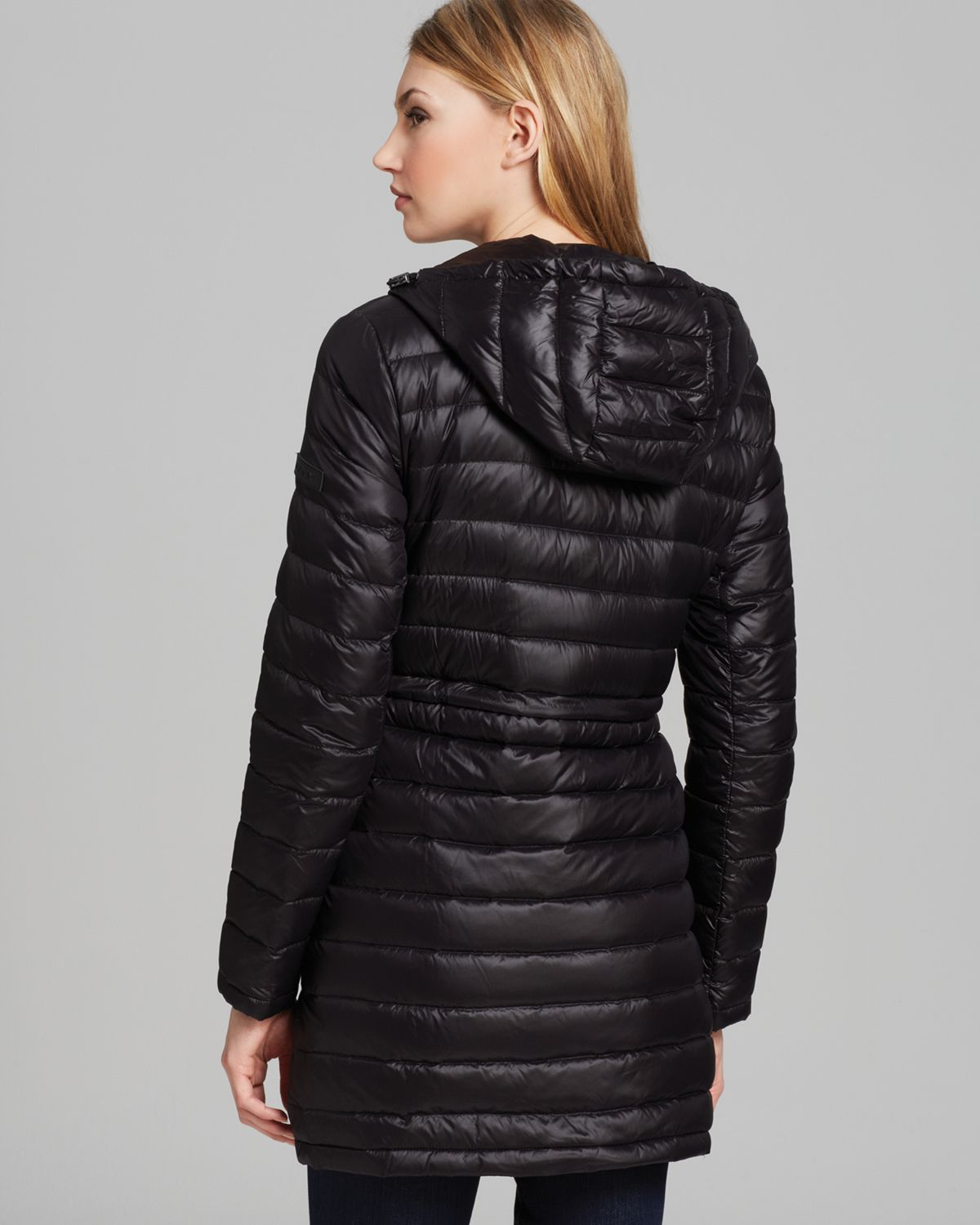 Dkny Down Puffer Jacket in Black | Lyst