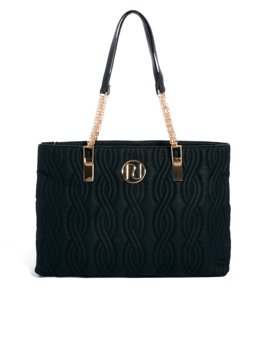 Black Quilted Tote Bag River Island