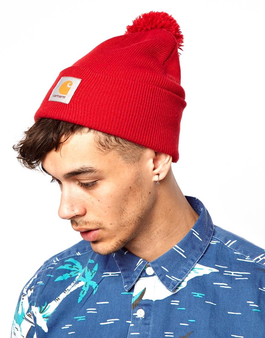 37db14948b5 Lyst Fjallraven Carhartt Bobble Watch Beanie Hat In Red For Men