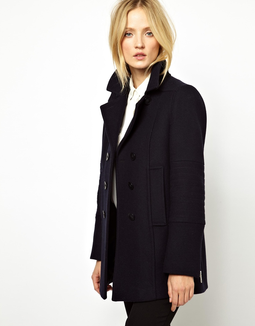 French connection Whistles Carmel Military Pea Coat in Blue | Lyst