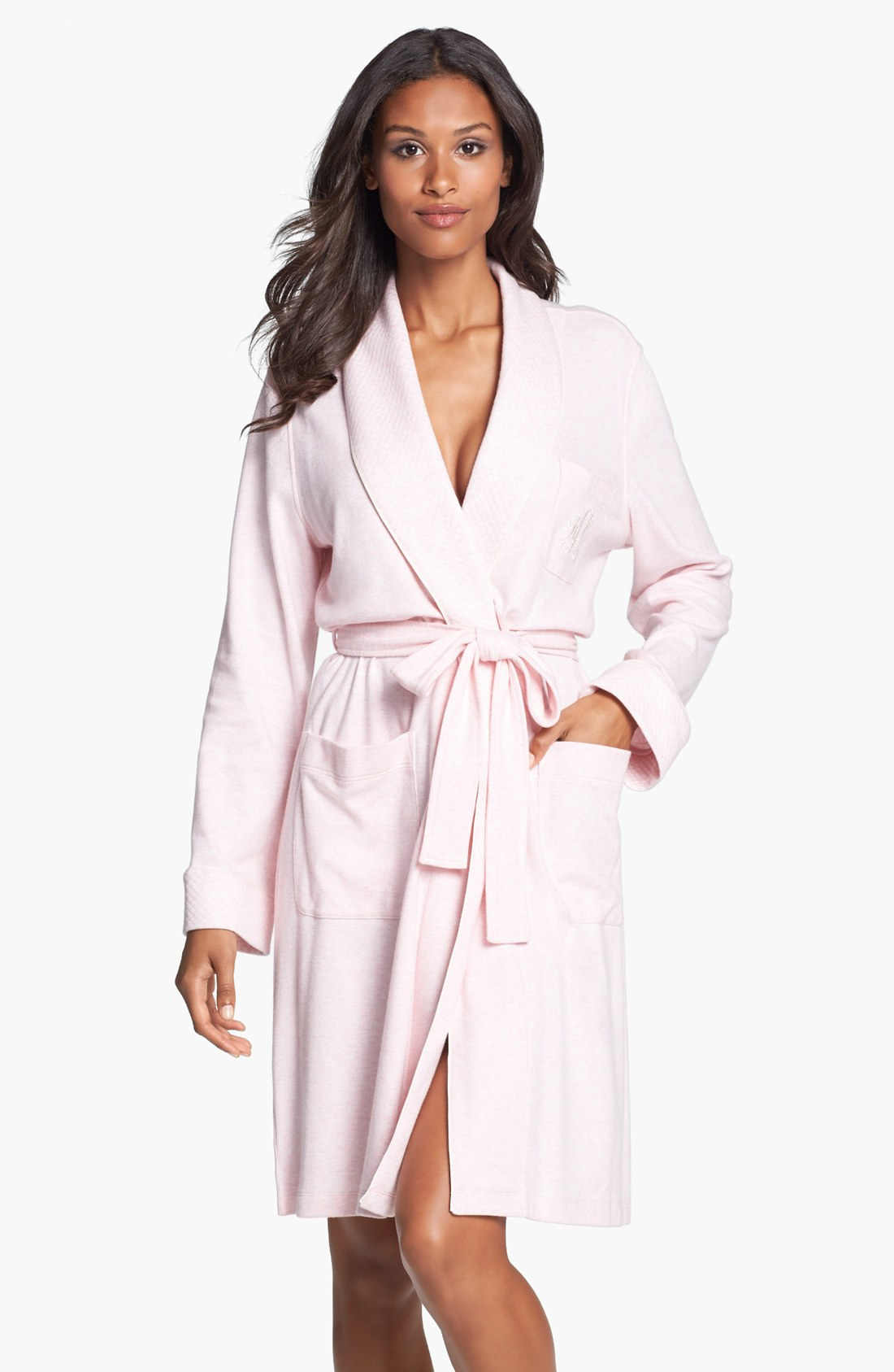 lauren by ralph lauren waffle weave robe in pink ballet pink heather lyst. Black Bedroom Furniture Sets. Home Design Ideas