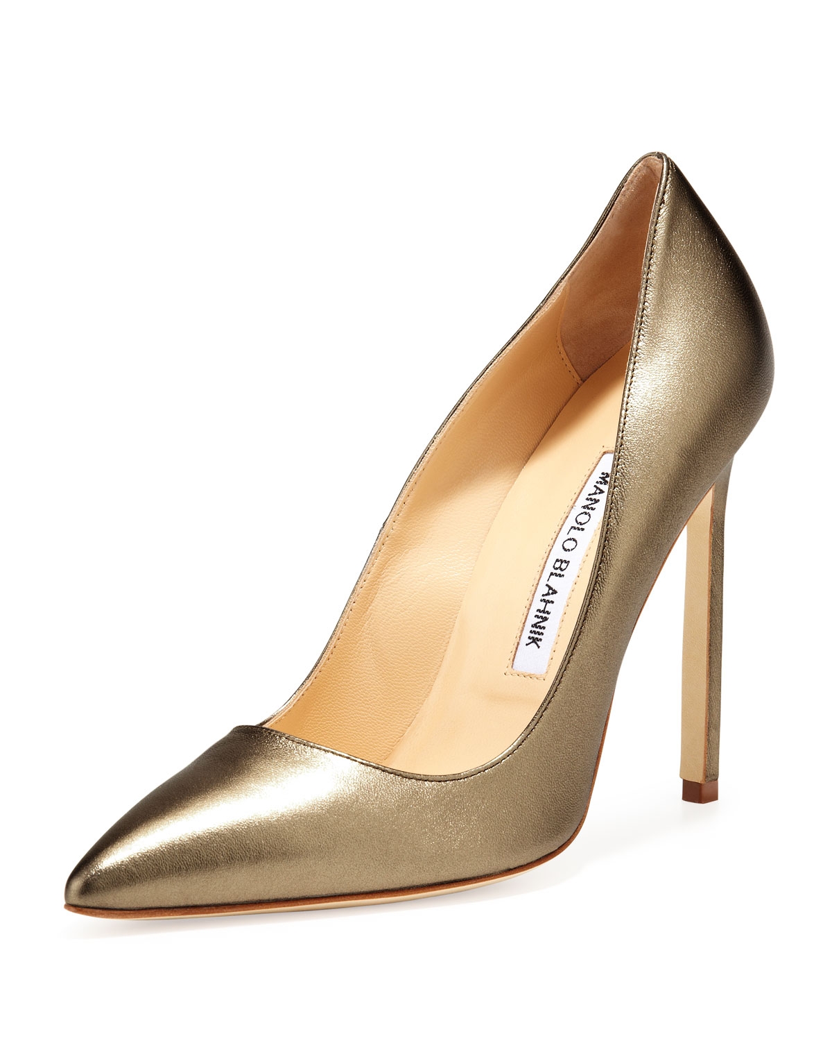 Manolo blahnik bb leather 115mm pump in gold alba lyst for Who is manolo blahnik