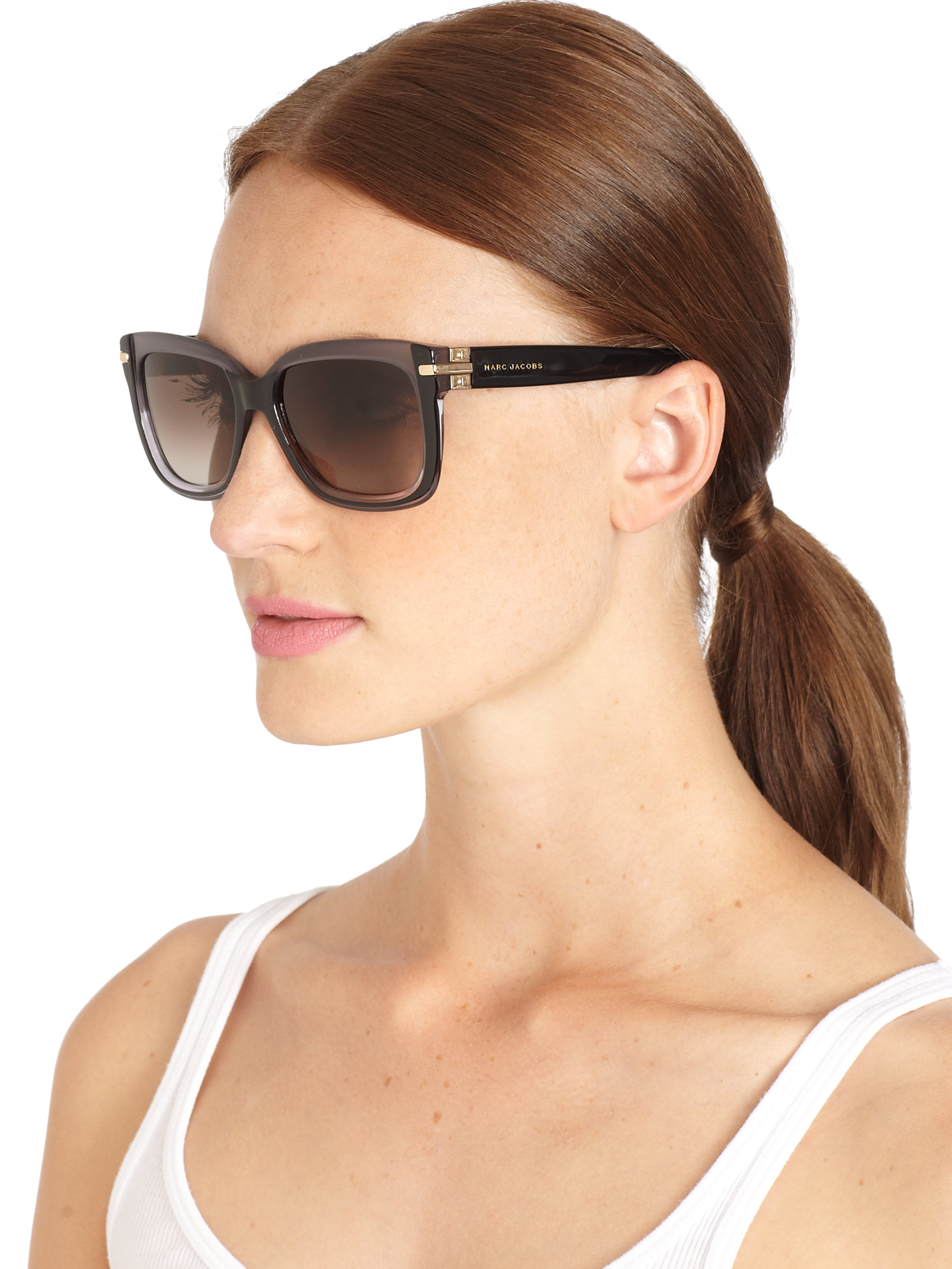 03089fe347 Lyst - Marc Jacobs Oversized Acetate Square Sunglasses in Black