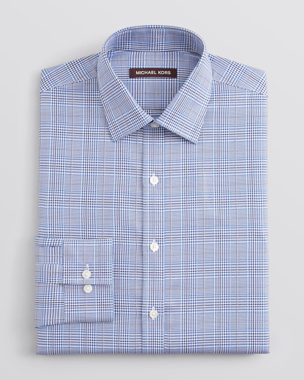 2fab3b8b8f85 Lyst Michael Kors Glen Plaid Dress Shirt Regular Fit In Blue For Men
