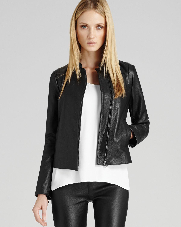 848d31308bb6 Reiss Jacket Sonti Leather Zip in Black - Lyst