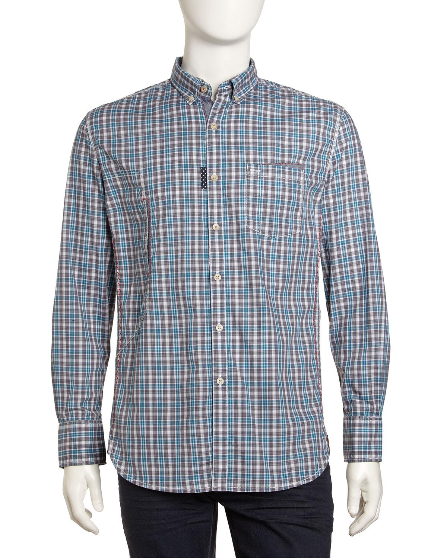 Robert Graham Woven Check Longsleeve Dress Shirt Teal